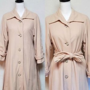 Vintage Kashmiracle Peach Tie Waist Trench Coat